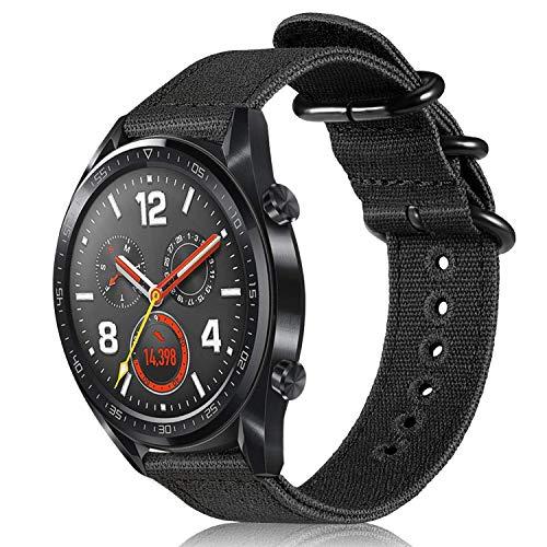 FINTIE Band voor Huawei Horloge GT/Horloge GT 2(46mm) / Horloge GT Actieve Smartwatch - 22mm Premium Geweven Stof Vervangende Polsbanden Verstelbare Canvas Sport Banden, Zwart