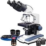 AmScope B120B-E 40X-2000X - Microscopio digitale binoculare con ponte 3D e telecamera USB