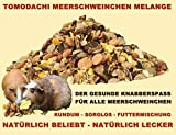 Meerschweinfutter pelletfrei, Nagerfutter, natürliche Nagerfuttermischung mit Möhrenflocken, Erbsenflocken, Erdnüssen, Sonnenblumenkernen, Kardi, Maisflocken und Kräutern – leckerer bunter Knabbermix, Alleinfutter für Meerschweinchen, Rundum-Sorglos Futtermischung Tomodachi Meerschweinchen Melange 5kg Eimer - 2