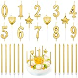 PUDSIRN - Juego de 26 velas de cumpleaños con números, 10 piezas de decoración para tartas con purpurina, número 0-9, con 16 velas de cumpleaños de corazón, estrella y largo(dorado)