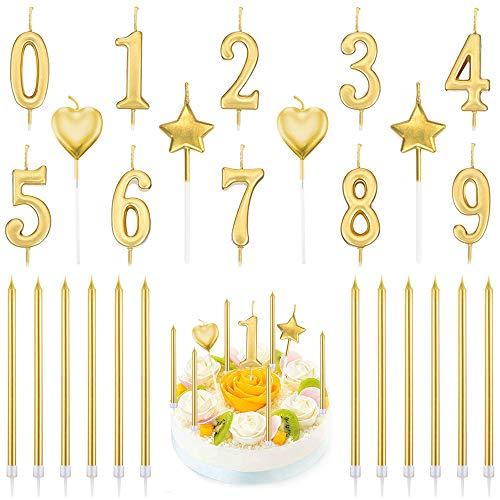 PUDSIRN Set di Candele con Numeri di Compleanno da 26 Pezzi, 10 Pezzi di Decorazioni per Torta con Glitter Numero 0-9 con 16 Candele di Compleanno a Forma di Cuore (Oro)