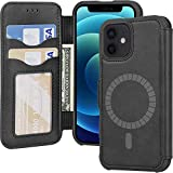 Arae Compatible with iPhone 12 Mini Case Wallet [Magnetic Wireless Charge] with Card Holder [RFID Blocking 2 Card Slot] for iPhone 12 Mini - Black