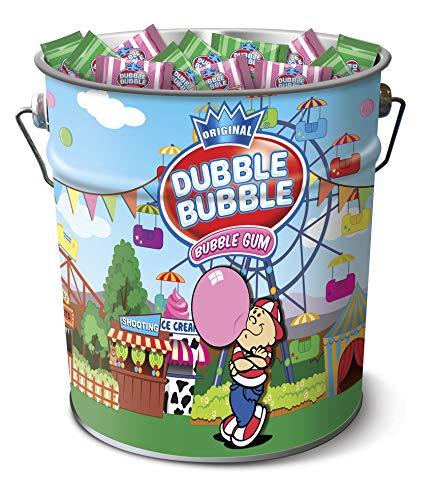 DUBBLE BUBBLE Lata de chicles DUBBLE BUBBLE sabor fresa y menta, lata metálica de 250 unidades