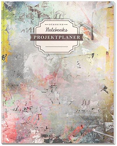 DÉKOKIND Projektplaner | DIN A4, 100+ Seiten, Register, Kontakte, Vintage Softcover | Für über 50 Projekte geeignet| Motiv: Colorful Wall