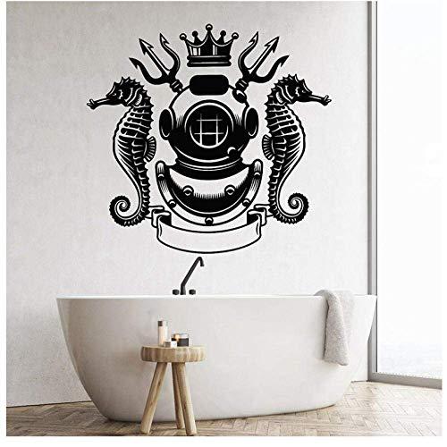 Scuba Duiken Vintage Helm Onderwater Stickers Vinyl Nauticals Home Decor voor Jongens Slaapkamer Kinderkamer Decals Muralen 61X57Cm