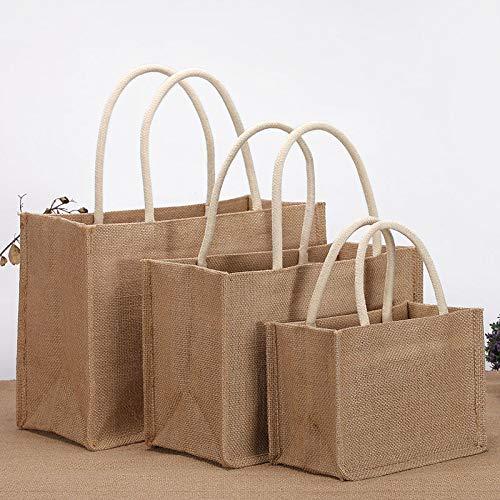 3 Pezzi di Lino Tote Bag Eco-friendly Juta Borse a Tracolla per la Spesa da Donna Ideale per la Stampa e il Ricamo Personalizzato su Misura di Grandi Dimensioni