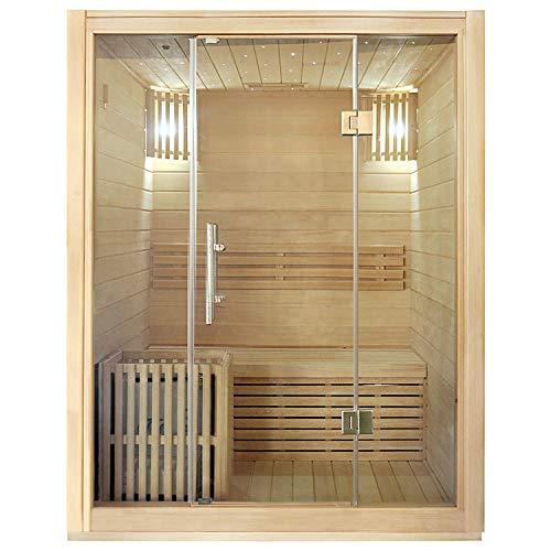Sauna finlandese completa di Stufa da 3 kw e cabina in legno spessore 6 cm Medea  Dimensioni 150x135x190 cm.