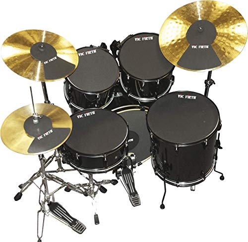 """Vic Firth 20 Inch Fusion Drum and Cymbal Mute Pad Set: 10"""", 12"""", 14""""(x2), 20""""Drum Pads Plus Hi-hat and 2 x Cymbal Pads"""