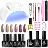 Beetles Gel Nail Polish Kit with U V Light Starter Kit, Gel Polish 6 Nude Gel Nail Polish Set with 48W U V LED Nail Lamp, Base Gel Top Coat and Gel Manicure Nail Tools DIY Home Gift for Mother's Day