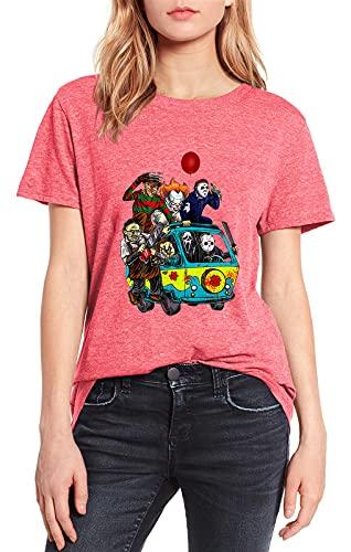 Terror Friends Van with Payaso Retro Scary Movie Michael Myers Jason Camiseta de Halloween para mujer, camiseta rosa, rosa, S
