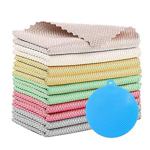 10 Stücke Mikrofasertücher,Fischschuppen-Tücher,40cm*30cmPutztücher,Mikrofaser Reinigungstücher,Glas Putztücher,Wiederverwendbar Putztücher,Geschirrtücher,Reinigungstuch für Auto,Küche,Bad(Farbe-a)