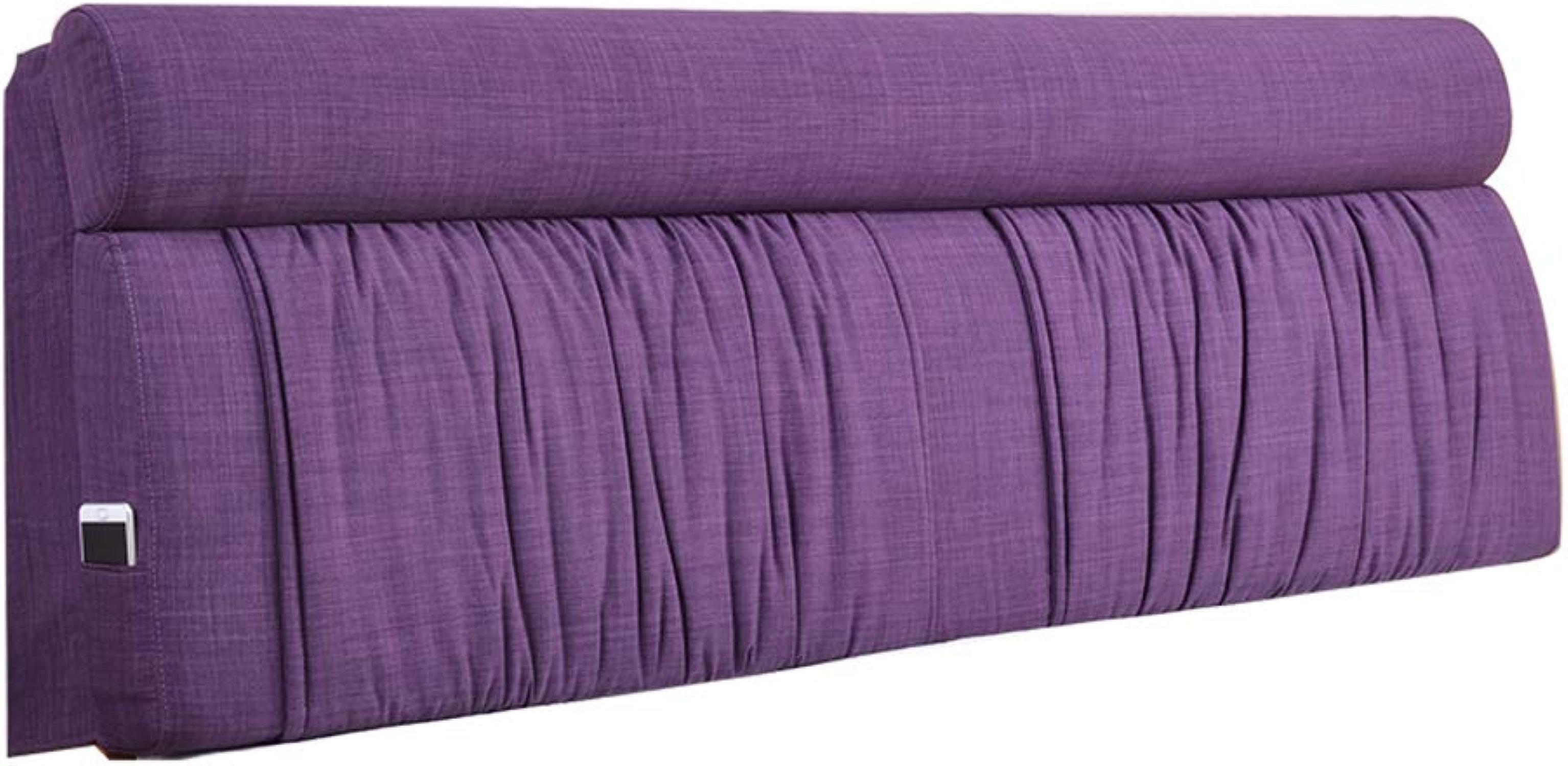 KKCF-Coussins de chevet Doux pour La Peau Respirant Lavable étui Souple Accueil Lin, 5 Couleurs 8 Tailles (Couleur   violet, Taille   120x60x12cm)