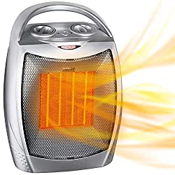 Portable Electric Space Heater with Thermostat, 1500W/750W Safe & Quiet Ceramic Heater Fan, Heat Up 200 sq. Ft for Office Room Desk Indoor Use