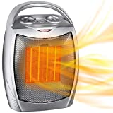 Portable Electric Space Heater with Thermostat, 1500W/750W Safe & Quiet Ceramic Heater Fan, Heat Up...
