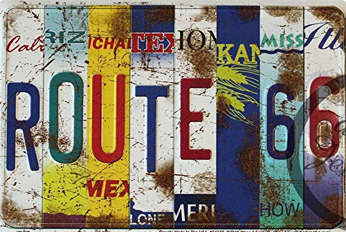 AWMAXG Wandschild, Motiv: Simunliyg, lustige Route 66, Vintage-Metallschild, Wandschild, Wanddekoration, Auto, Kfz, Nummernschild, Souvenir, 20,3 x 30,5 cm