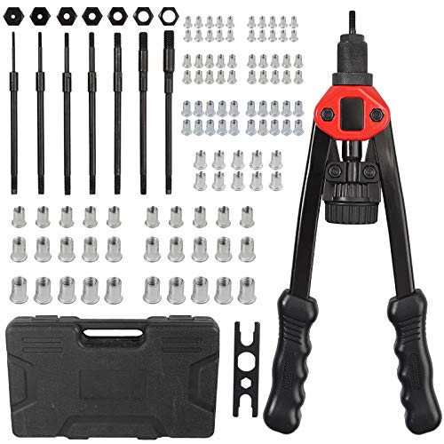 AUTOUTLET 13 Inch Heavy Duty Hand Riveter Rivet Nut Gun Tool 7 Sizes 100Pcs M3 M4 M5 M6 M8 M10 M12 Rivet Nut Setter Kit Nuts Setting System with Sturdy Plastic Carry Case