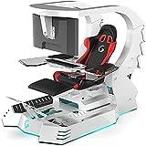 Super Deluxe Racing Gaming Chair Executive Office Cockpit Gaming Station Silla de videojuegos, mesa y silla de ordenador, silla giratoria de respaldo alto, con reposacabezas, soporte lumbar D