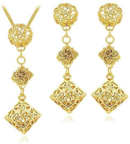 Aluyouqi Co.,ltd Collar Conjuntos románticos para Mujeres Niñas Pendientes Collar Colgante Cuadrado para Fiesta Boda Collar Delicado Longitud 45Cm