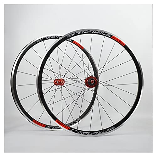 LvTu 30mm Juego de Ruedas de Bicicleta de Carretera 700C V/C - Freno, Pared Doble Llanta de aleación de Aluminio QR 7-11 velocidades Cubo de Ruedas Bicicleta Accesorios (Color : Red)