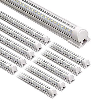 Barrina 8FT LED Shop Light, 72W 9000LM 6500K, Daylight White, V Shaped, Integrated Light Fixture, led Light Strip, T8 LED Tube Lights, LED Shop Lights for Garage 8 Foot with Plug (Pack of 10)