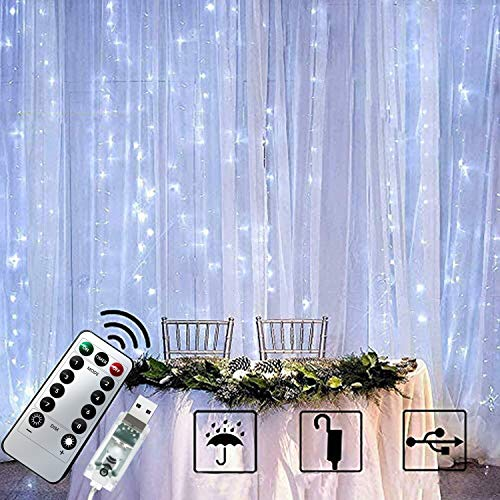 Chipark 300 LED Curtain Lights, 3mx3m USB Window Fairy String Lights with 8 Modes Remote Control Timer Waterproof Silver Light for Outdoor Indoor Wedding Party Garden Bedroom Decoration(Cool White)