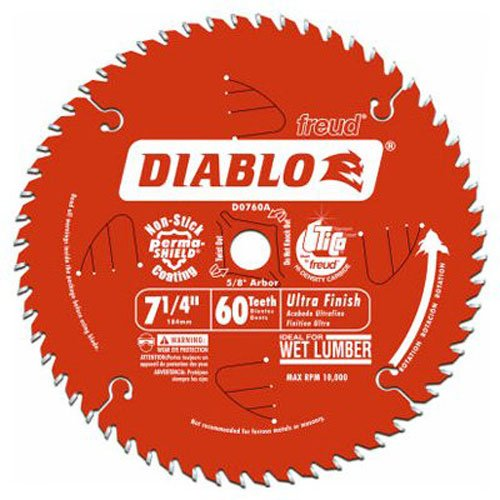 Freud D0760X Diablo Ultra Finish Saw Blade ATB 7-1/4-Inch by 60t 5/8-Inch Arbor