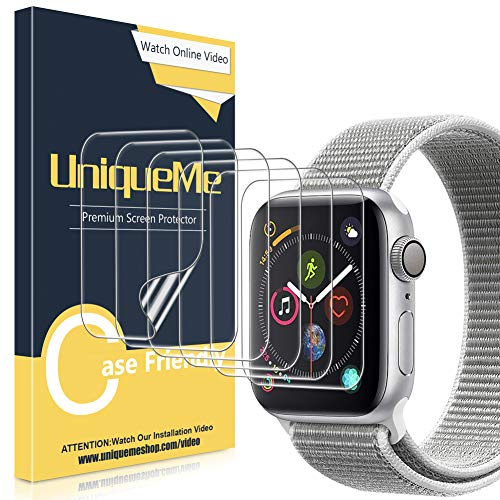 UniqueMe [6 Pezzi] Pellicola Protettiva per Apple Watch 42mm Series 1/2/3, [Caso Amichevole] [Film Flessibile] Soft HD Clear TPU Film, Anti-Scratch