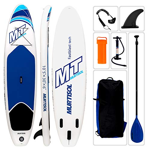 Murtisol 10'5'' Inflatable Stand Up Paddle Board(25in Width) for Skilled Person, Ultra-Thick Durable PVC, Non-Slip Deck, Extra SUP Accessories, Dual-Action Pump, Ankle Strap, Adjustable Paddle, Blue