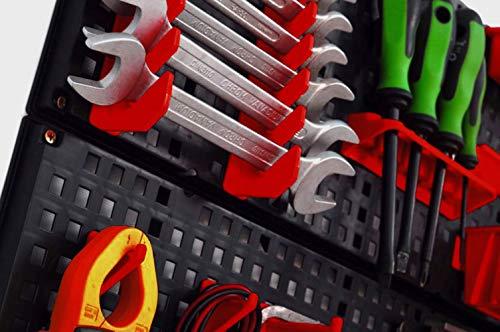 Werkzeugwand mit 19 teiligem Werkzeugbefestigungsset, Länge 80 cm x Breite 48 cm – beliebig erweiterbar - 4