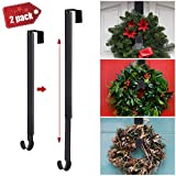 Kederwa Adjustable Wreath Hanger, 2 Pack Over The Door Wreath Holder from 15'-24'' Metal Wreath Hook for Christmas Wreaths Holiday Door Decorations