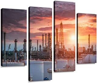 Oil and gas industry refinery factory petrochemical plant at Canvas Print Artwork Wall Art Pictures Framed Digital Print A...