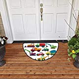 White Sandss Half Round Anti-Slip Rug Construction Cute Style Vehicles and Heavy Equipment Forklift Earthmover Excavator Mixer W31 xL37 Home Decoration Door Mat