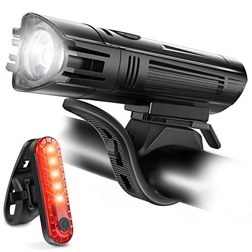 CAREXY Juego de Luces Recargables USB para Bicicleta, la combinación de iluminación más Segura con Luces Delanteras y traseras para Bicicleta