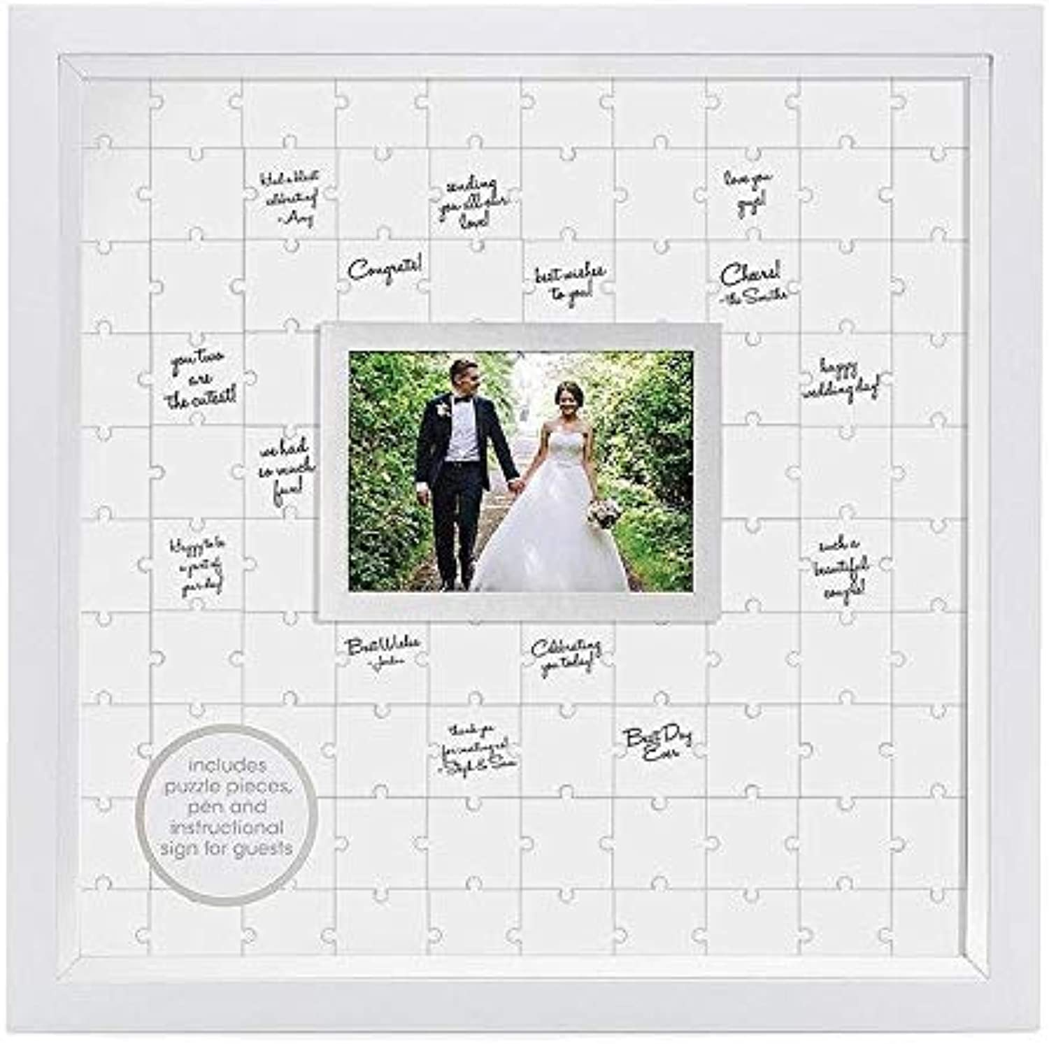 Pearhead Puzzle, White, Unique Alternative, Perfect Wedding Keepsake Guestbook Frame,