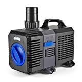 Flexzion Pond Pump Submersible (950GPH) Adjustable Flow Inline Aquarium Fountain Waterfall Koi Fish Salt Fresh Water Filter with Set of Outlet Adapter