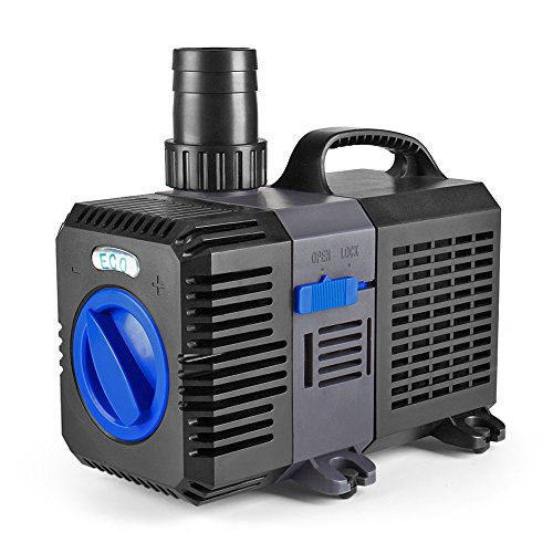 Flexzion Pond Pump Submersible (1400GPH) Adjustable Flow Inline Aquarium Fountain Waterfall Koi Fish Salt Fresh Water Filter with Set of Outlet Adapter