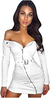 Jeash Women Sexy Off Shoulder Holiday Style Long Sleeve Zipper-up Belt Mini Bodycon Club Night Dress