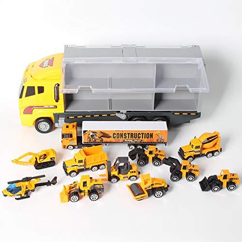 AOTE-D Construction Camion Camion Chariot Élévateur Pelle Ensemble 7 Pièce Armoire De Rangement Portable Alliage Jaune Jouet Garçon Fille Enfant Cadeau