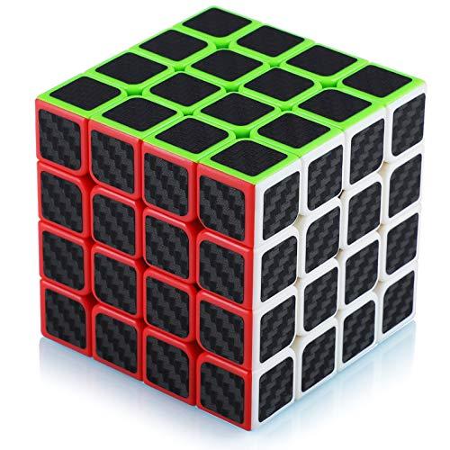 Maomaoyu Zauberwürfel 4x4 4x4x4 Original Speed Magic Cube Puzzle Magischer Würfel Kohlefaser Aufkleber für Schneller und Präziser mit Lebendigen Farben