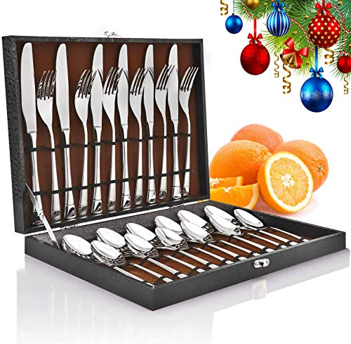 Cutlery Set, Elegant Life 24 Piece Stainless Steel Flatware Silverware Set with Ceramic Handle, Utensils Gift Set, Tableware Set with Knife Spoon Fork and Gift Box Service for 6. (24 Silver)