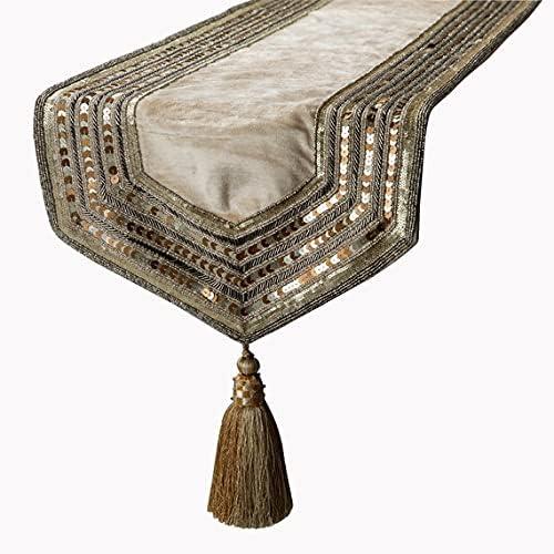 5 ☆ popular The Regular store HomeCentric Velvet Decorative Table Fabric Runner wi Luxury