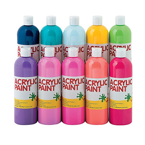 Tropical Acrylic Paint Set-16Oz - 10 Pieces - Educational and Learning Activities for Kids