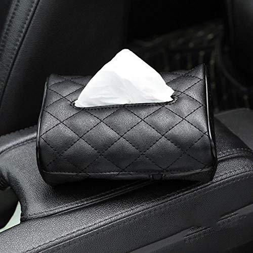 LinZX Gewebe-Kasten PU-Leder-Auto-Gewebe-Kasten-Serviette-Halter Sonnenblende Hanging Aufbewahrungsbehälter für Auto-Rücksitz-hängende Papierhalter,BK