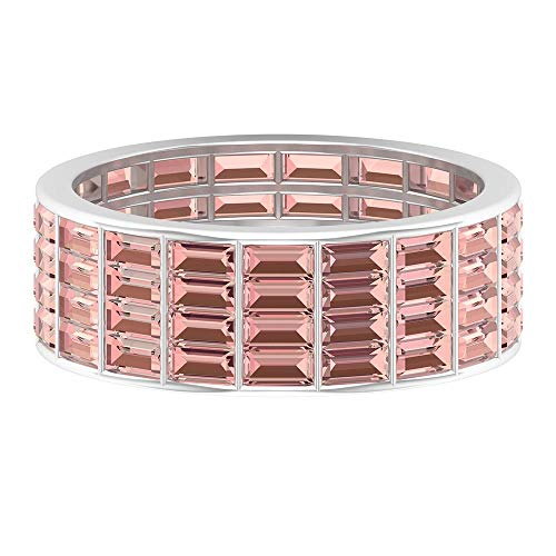 Half Eternity Ring, Wide Wedding Band, 4.56 CT Baguette Cut Lab Created Morganite Ring, Lab Created Pink Stone Ring, Thick Anniversary Ring, 14K White Gold, Size:UK R