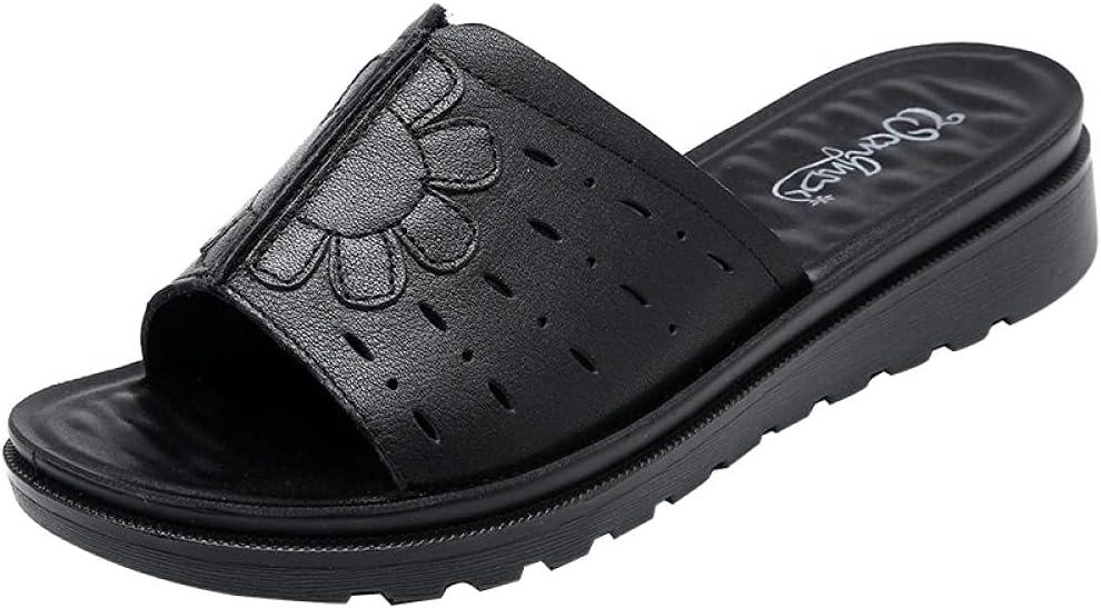 Kirin-1 flip Flops Mens,Soft Bottom Cozy Cold Leather Retro Large Size slippers-42_Black