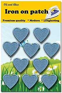 رقع قماشية تُلبس بالكي - رقعة قلب أزرق 10 قطع مزخرفة بالكي 1.26 × 1.18 بوصة (3.2 × 3 سم) A-190