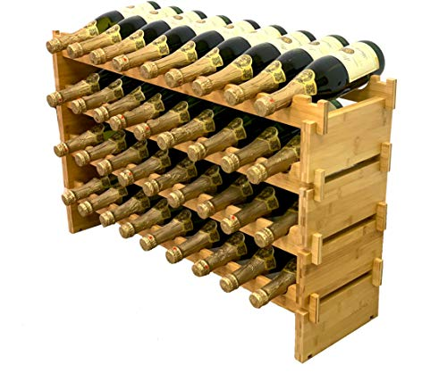 DECOMIL - Stapelbares Weinregal für 36 Flaschen, modular, Weinregal, massiver Bambus-Weinhalter, Ausstellungsregale, wackelfrei (vier Ebenen, 36 Flaschen)