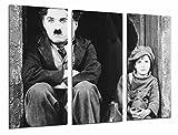 Cuadros Camara Poster Fotográfico Cine Mudo Antiguo Vintage Blanco y Negro, Chaplin Tamaño total: 97 x 62 cm XXL, Multicolor