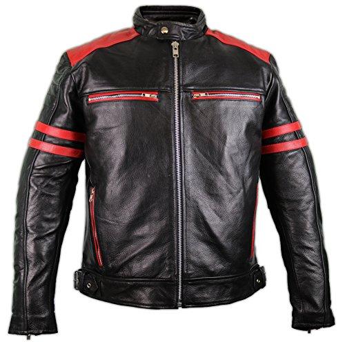 MDM Herren Motorrad Lederjacke mit Protektoren (XL)