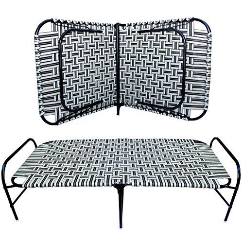 Avani MetroBuzz Single Size Folding Bed Size 3 x 6   Iron Folding Bed   Multicolor Niwar Folding Bed for Household Purpos D784 (Niwar Bed)